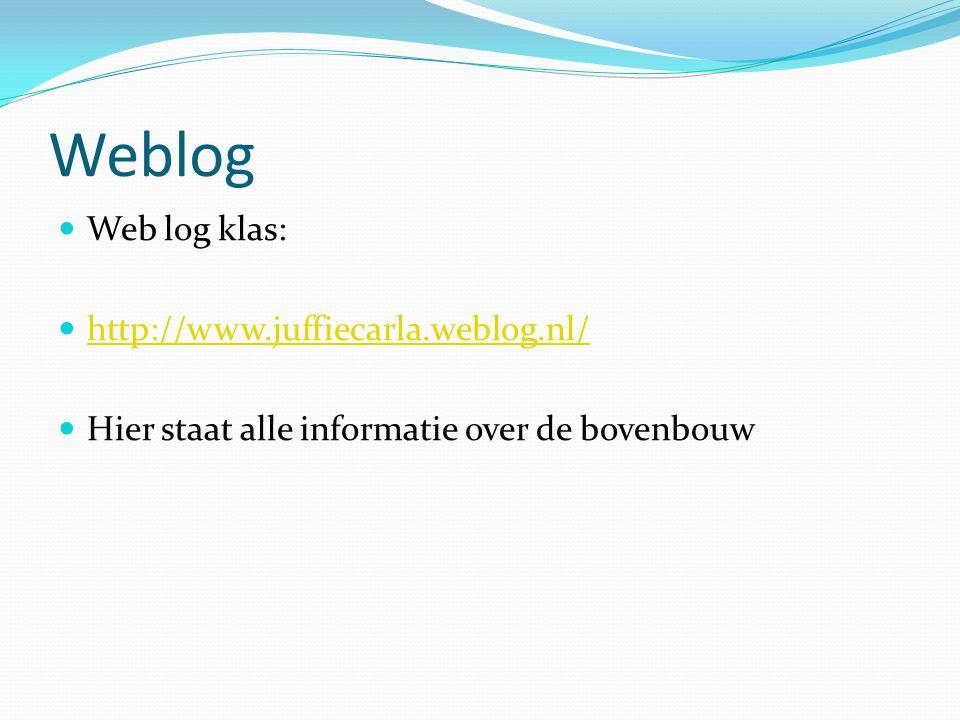 Weblog Web log klas: http://www.juffiecarla.weblog.nl/ Hier staat alle informatie over de bovenbouw