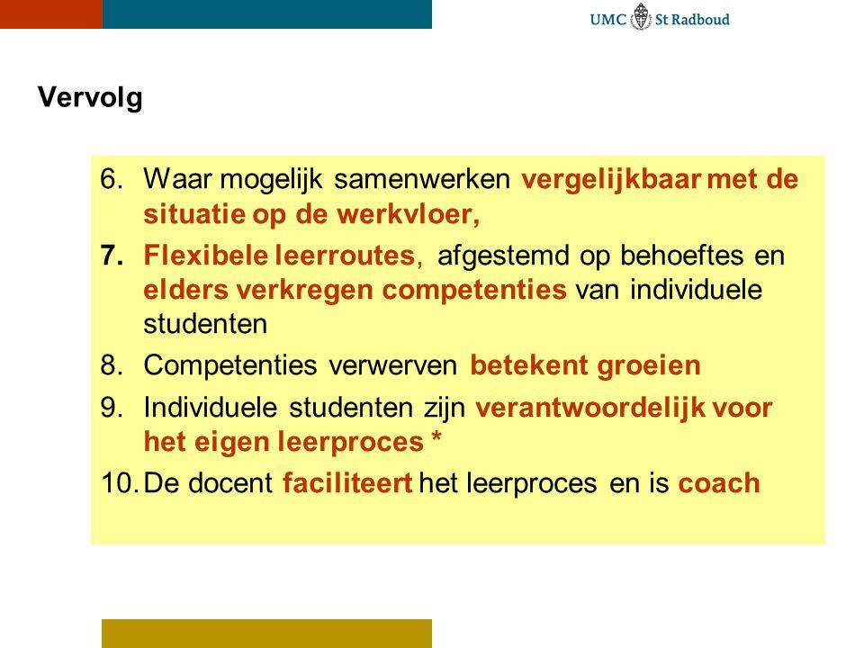 Vervolg 6.Waar mogelijk samenwerken vergelijkbaar met de situatie op de werkvloer, 7.Flexibele leerroutes, afgestemd op behoeftes en elders verkregen