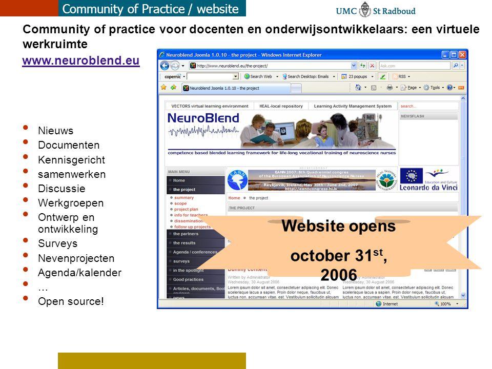 Community of Practice / website Website opens october 31 st, 2006 www.neuroblend.eu Community of practice voor docenten en onderwijsontwikkelaars: een