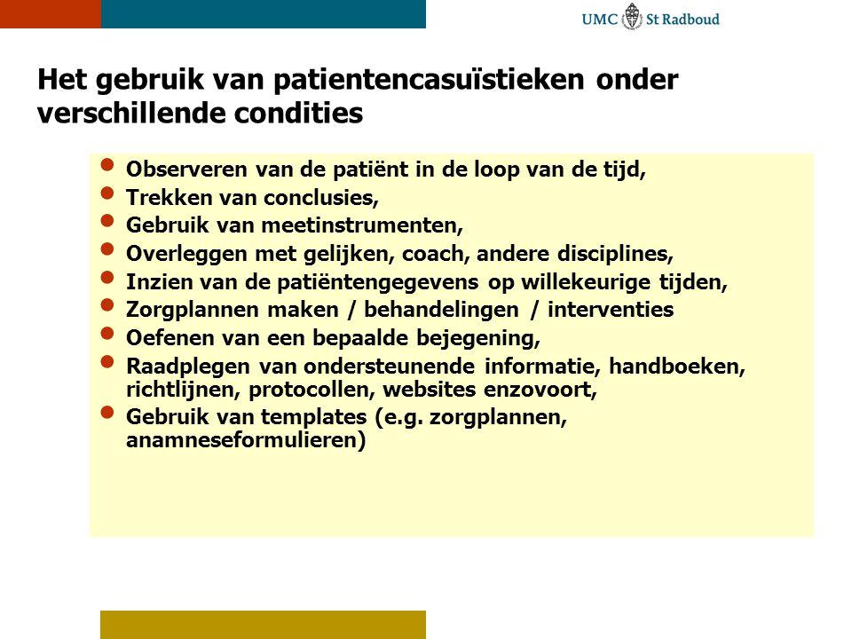 Het gebruik van patientencasuïstieken onder verschillende condities Observeren van de patiënt in de loop van de tijd, Trekken van conclusies, Gebruik
