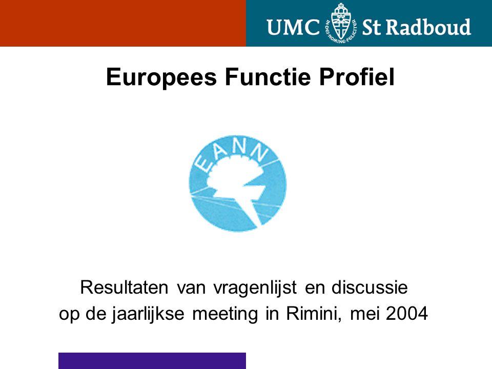 Europees Functie Profiel Resultaten van vragenlijst en discussie op de jaarlijkse meeting in Rimini, mei 2004