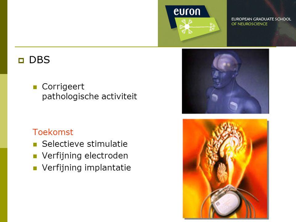  DBS Corrigeert pathologische activiteit Toekomst Selectieve stimulatie Verfijning electroden Verfijning implantatie