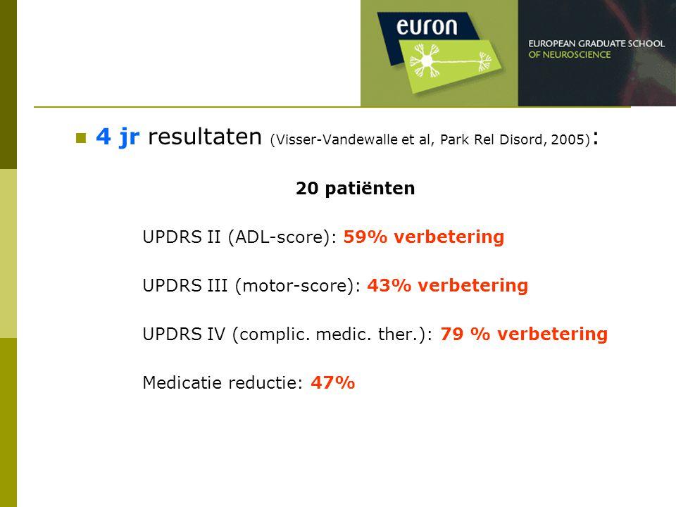 4 jr resultaten (Visser-Vandewalle et al, Park Rel Disord, 2005) : 20 patiënten UPDRS II (ADL-score): 59% verbetering UPDRS III (motor-score): 43% ver