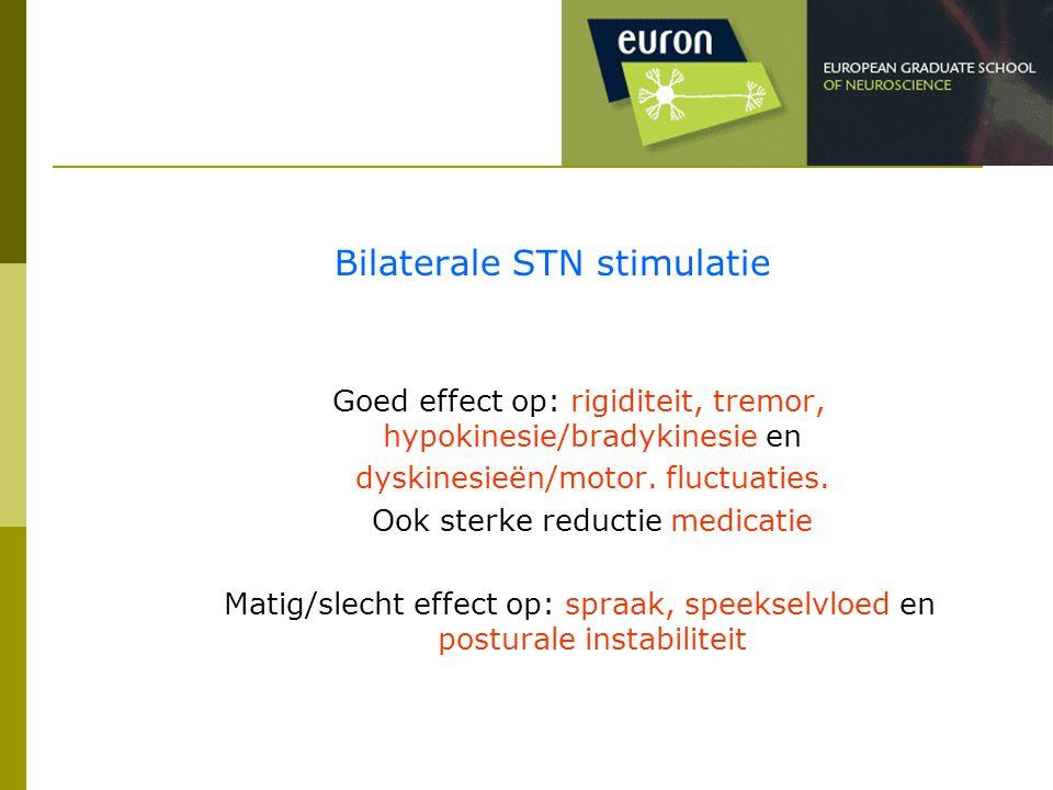 Bilaterale STN stimulatie Goed effect op: rigiditeit, tremor, hypokinesie/bradykinesie en dyskinesieën/motor. fluctuaties. Ook sterke reductie medicat