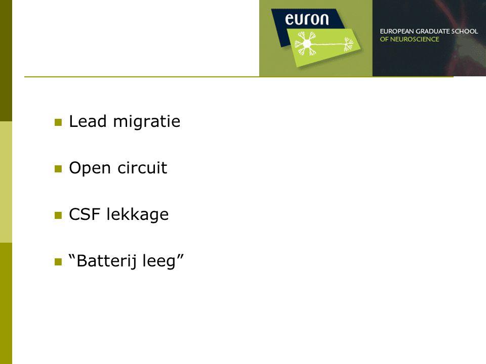 "Lead migratie Open circuit CSF lekkage ""Batterij leeg"""