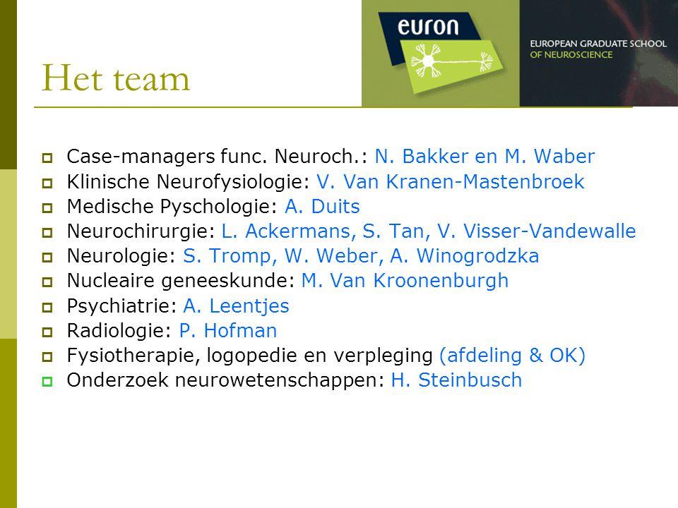Het team  Case-managers func. Neuroch.: N. Bakker en M. Waber  Klinische Neurofysiologie: V. Van Kranen-Mastenbroek  Medische Pyschologie: A. Duits
