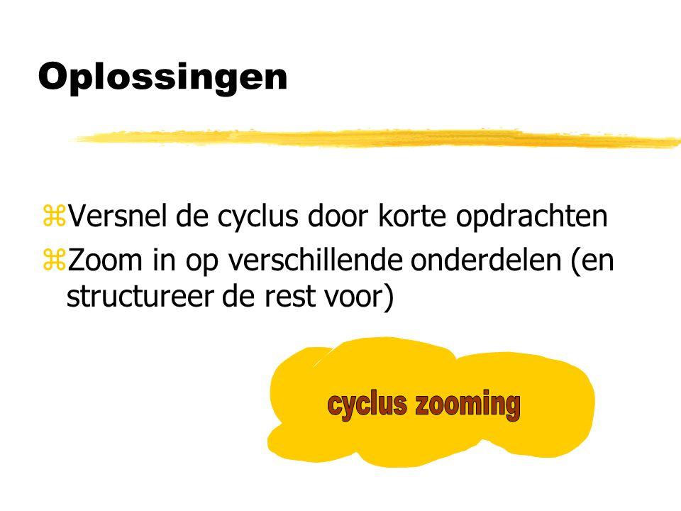 Cyclus zooming zDe leerling zoomt in op telkens een ander vaardigheidaspect van de ontwerp cyclus zHij combineert daarmee vaardigheden en (verschillende) inhouden –hele ontwerpproces.