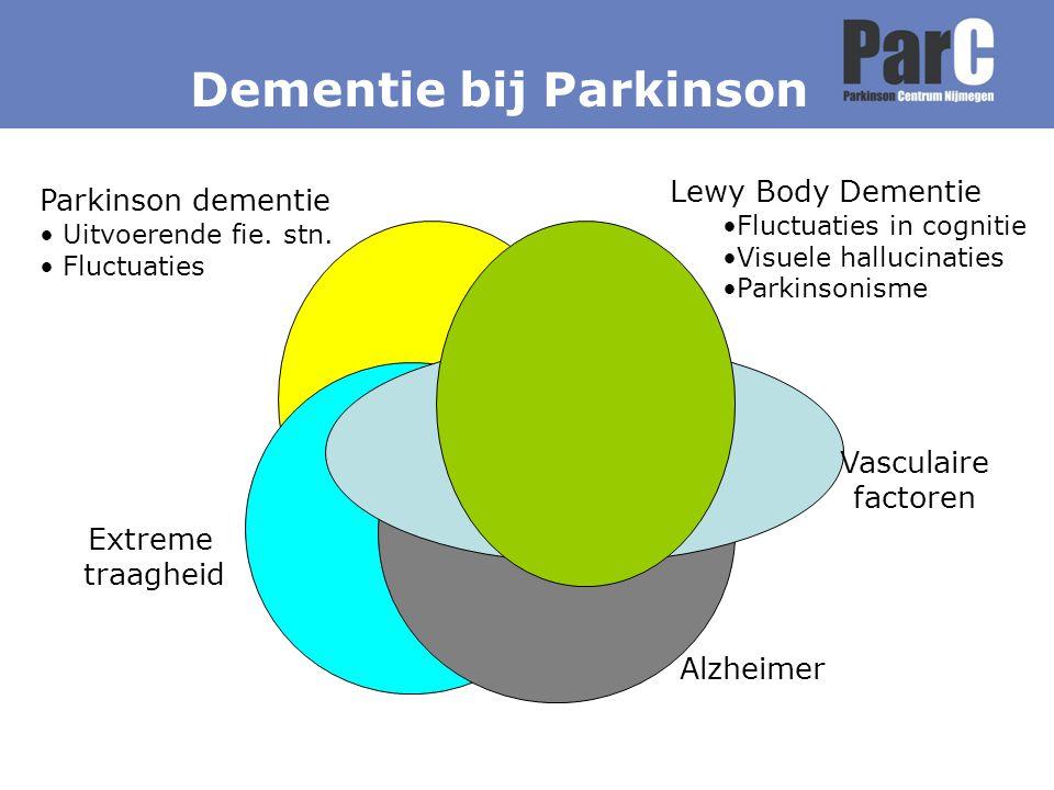 Lewy Body Dementie Fluctuaties in cognitie Visuele hallucinaties Parkinsonisme Alzheimer Parkinson dementie Uitvoerende fie. stn. Fluctuaties Extreme
