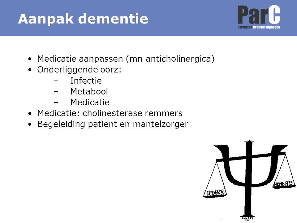 Medicatie aanpassen (mn anticholinergica) Onderliggende oorz: –Infectie –Metabool –Medicatie Medicatie: cholinesterase remmers Begeleiding patient en