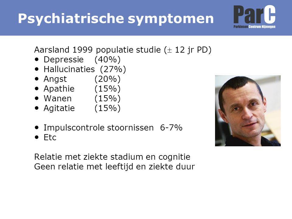 Psychiatrische symptomen Aarsland 1999 populatie studie ( 12 jr PD) Depressie(40%) Hallucinaties (27%) Angst (20%) Apathie (15%) Wanen (15%) Agitatie