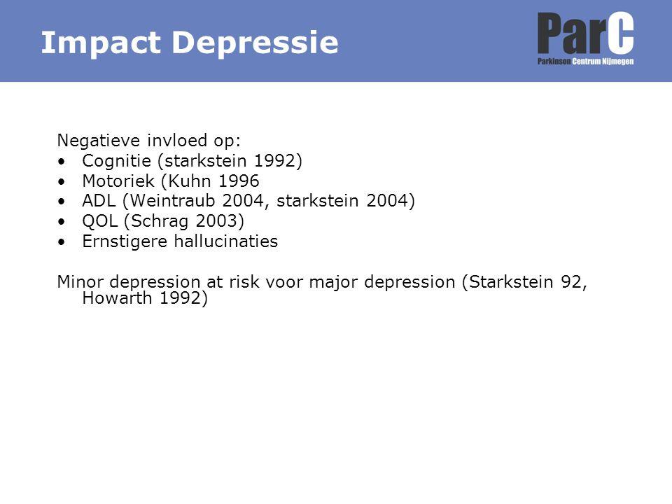 Impact Depressie Negatieve invloed op: Cognitie (starkstein 1992) Motoriek (Kuhn 1996 ADL (Weintraub 2004, starkstein 2004) QOL (Schrag 2003) Ernstige