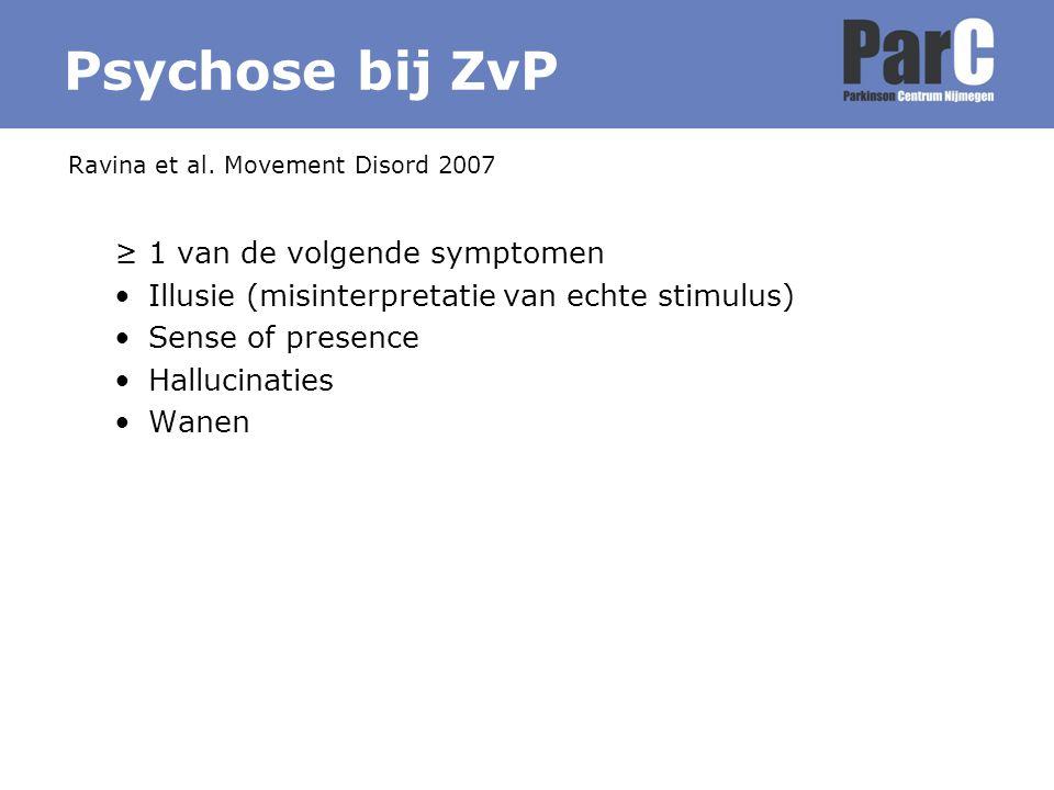 ≥ 1 van de volgende symptomen Illusie (misinterpretatie van echte stimulus) Sense of presence Hallucinaties Wanen Ravina et al. Movement Disord 2007 P