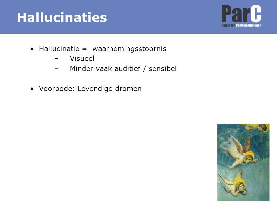 Hallucinaties Hallucinatie = waarnemingsstoornis –Visueel –Minder vaak auditief / sensibel Voorbode: Levendige dromen