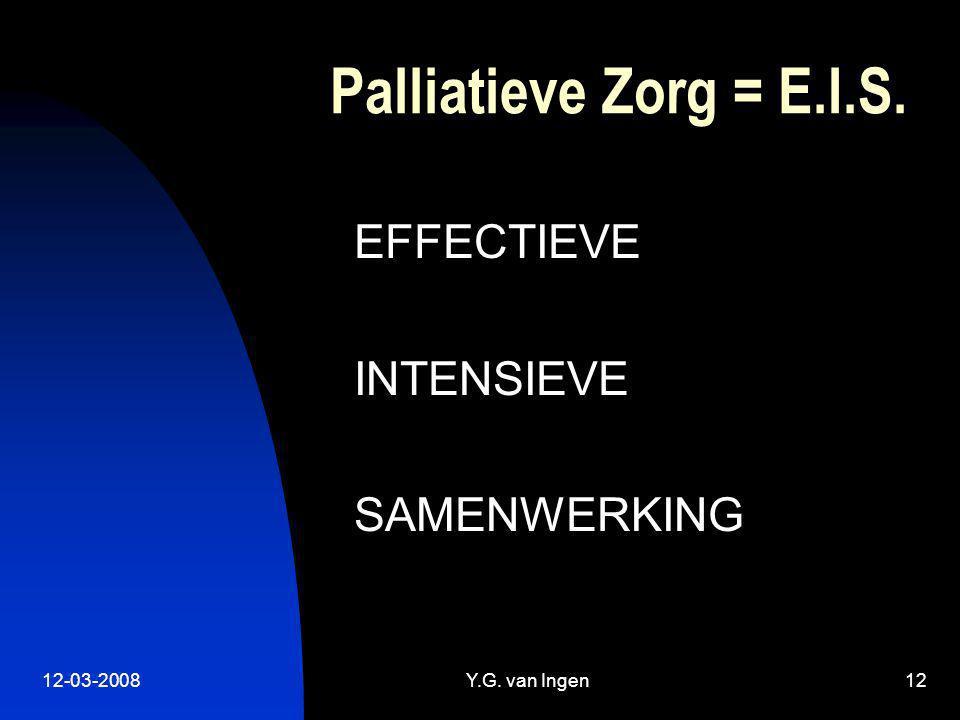 12-03-2008Y.G. van Ingen12 Palliatieve Zorg = E.I.S. EFFECTIEVE INTENSIEVE SAMENWERKING