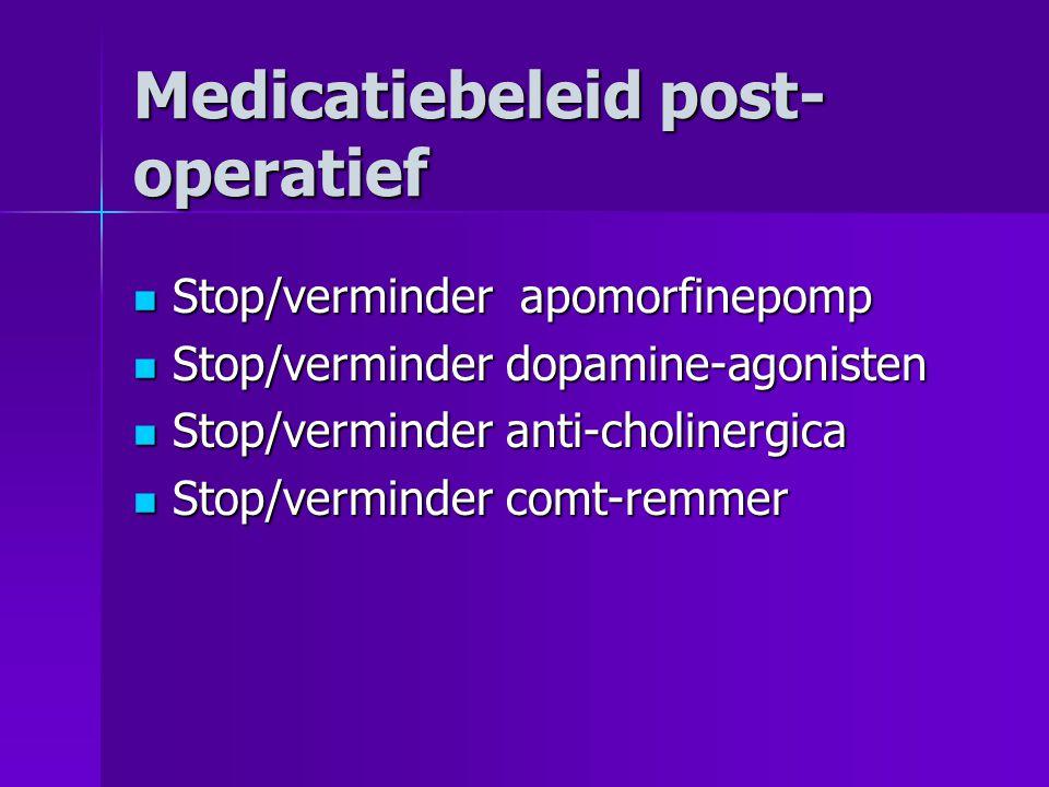 Medicatiebeleid post- operatief Stop/verminder apomorfinepomp Stop/verminder apomorfinepomp Stop/verminder dopamine-agonisten Stop/verminder dopamine-agonisten Stop/verminder anti-cholinergica Stop/verminder anti-cholinergica Stop/verminder comt-remmer Stop/verminder comt-remmer