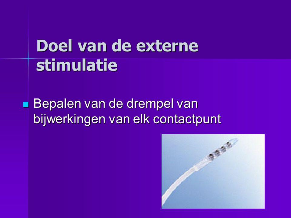 Doel van de externe stimulatie Bepalen van de drempel van bijwerkingen van elk contactpunt Bepalen van de drempel van bijwerkingen van elk contactpunt