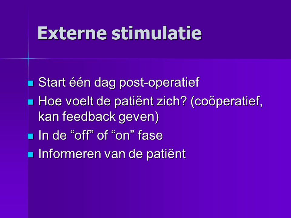 Externe stimulatie Start één dag post-operatief Start één dag post-operatief Hoe voelt de patiënt zich.