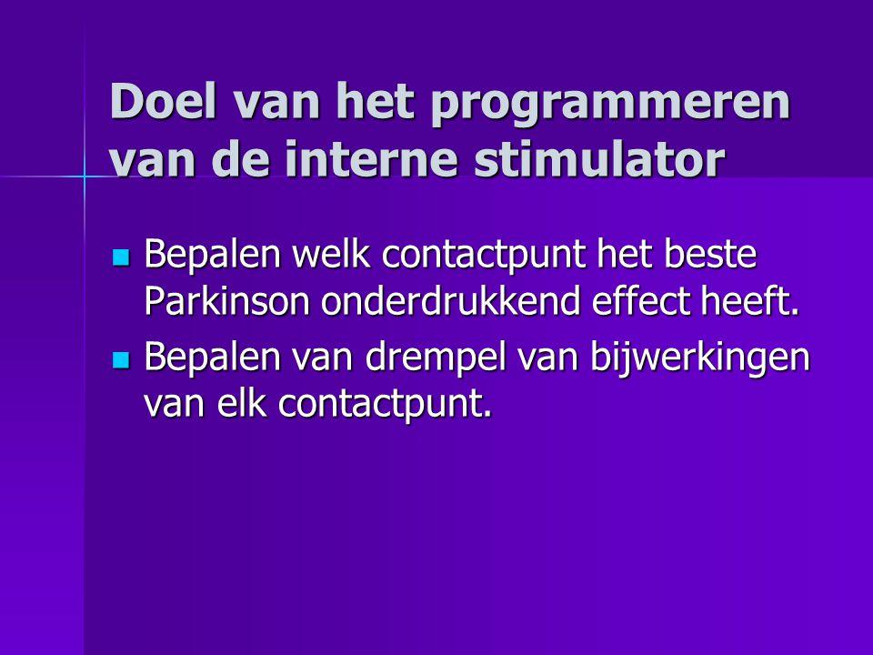 Doel van het programmeren van de interne stimulator Bepalen welk contactpunt het beste Parkinson onderdrukkend effect heeft.