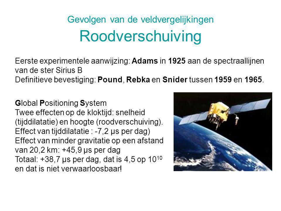 Gevolgen van de veldvergelijkingen Roodverschuiving Global Positioning System Twee effecten op de kloktijd: snelheid (tijddilatatie) en hoogte (roodve