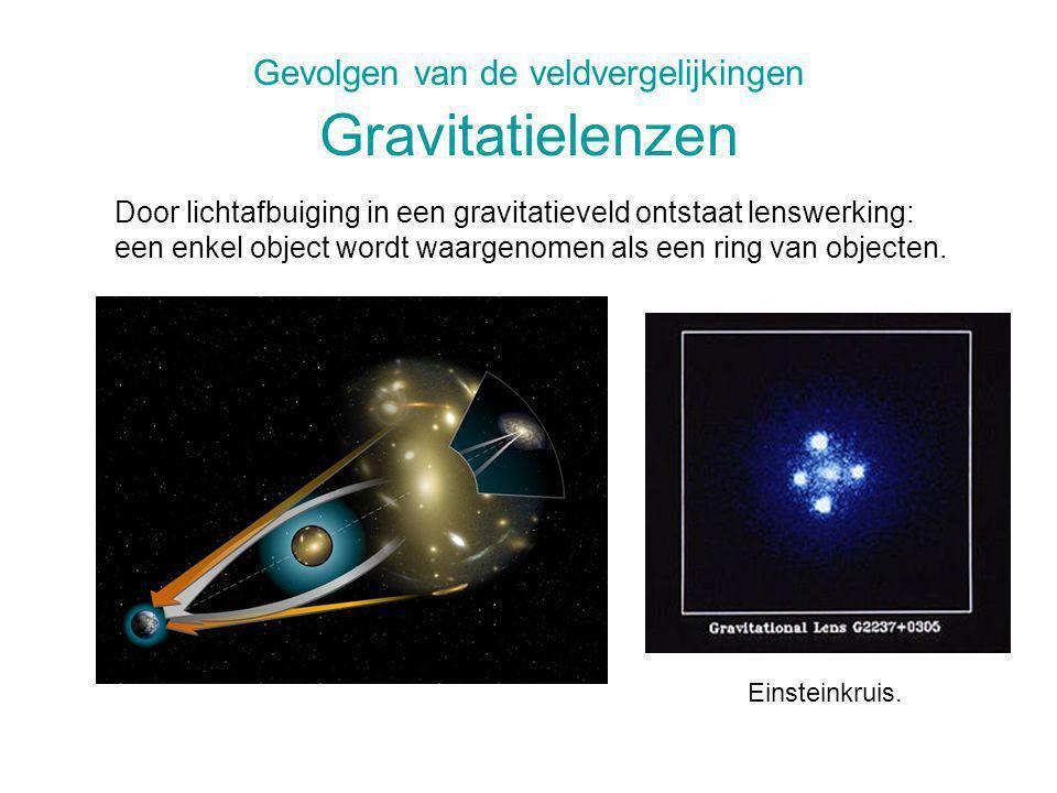 Gevolgen van de veldvergelijkingen Gravitatielenzen Einsteinkruis. Door lichtafbuiging in een gravitatieveld ontstaat lenswerking: een enkel object wo