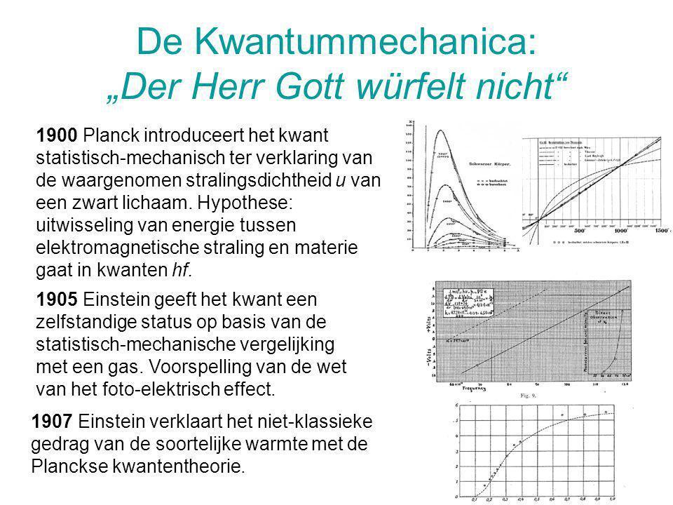 """De Kwantummechanica: """"Der Herr Gott würfelt nicht"""" 1900 Planck introduceert het kwant statistisch-mechanisch ter verklaring van de waargenomen stralin"""