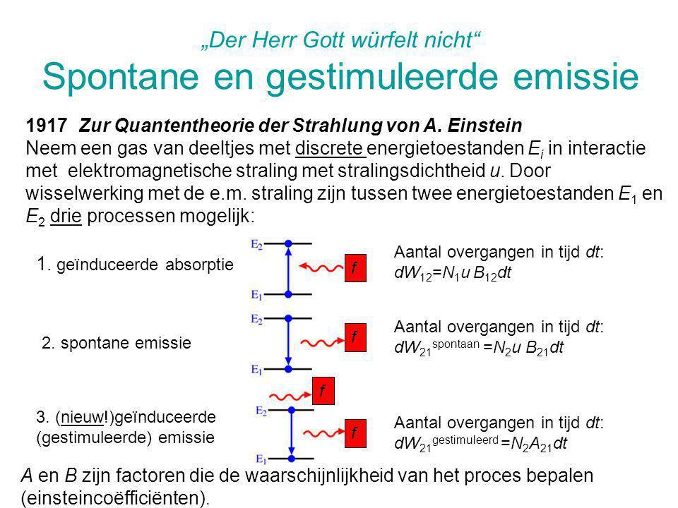 """""""Der Herr Gott würfelt nicht"""" Spontane en gestimuleerde emissie 1917 Zur Quantentheorie der Strahlung von A. Einstein Neem een gas van deeltjes met di"""