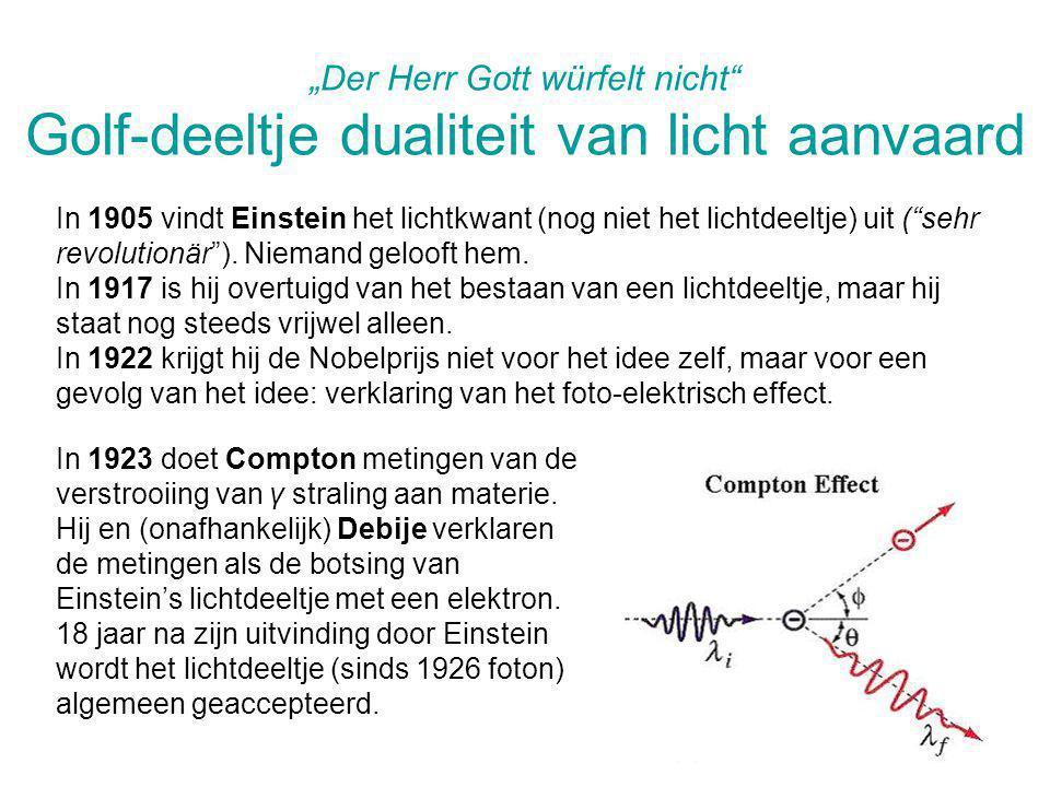 """""""Der Herr Gott würfelt nicht"""" Golf-deeltje dualiteit van licht aanvaard In 1905 vindt Einstein het lichtkwant (nog niet het lichtdeeltje) uit (""""sehr r"""