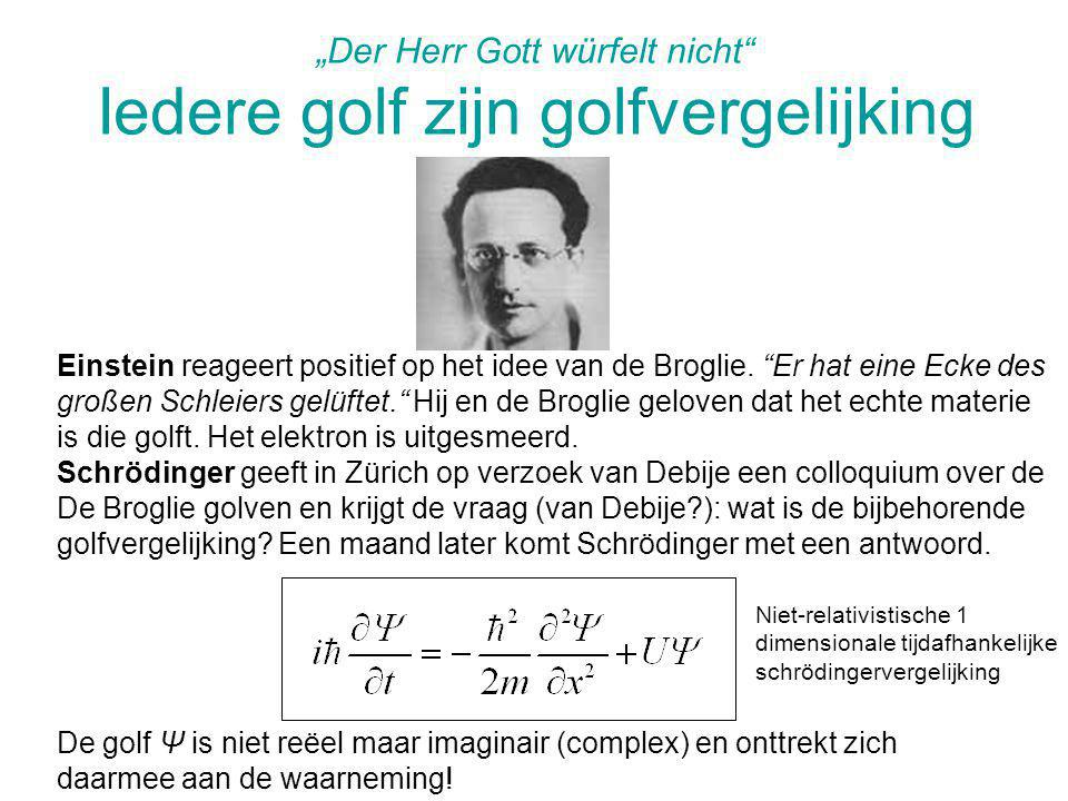 """Der Herr Gott würfelt nicht"" Iedere golf zijn golfvergelijking Einstein reageert positief op het idee van de Broglie. ""Er hat eine Ecke des großen Sc"