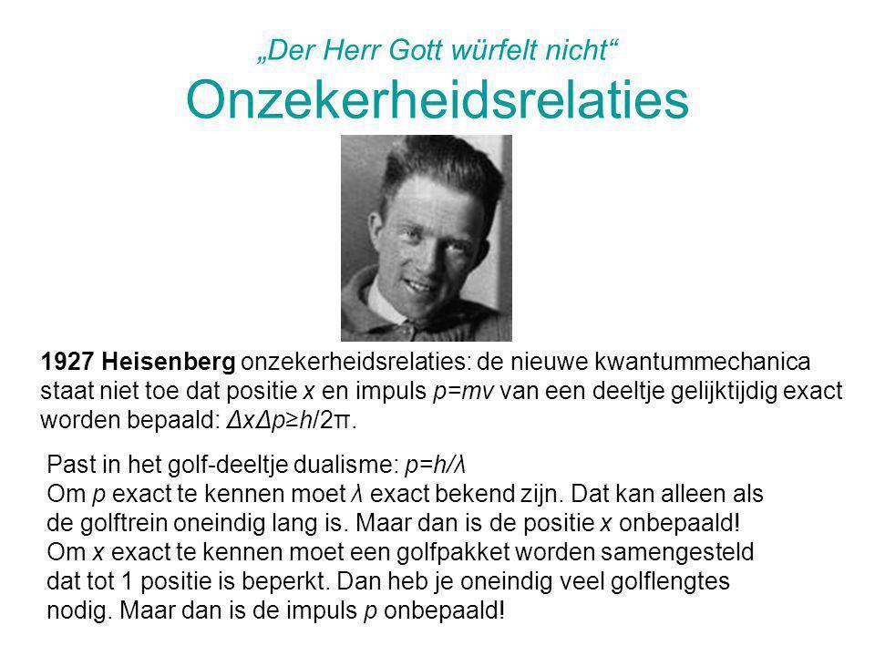 """""""Der Herr Gott würfelt nicht"""" Onzekerheidsrelaties 1927 Heisenberg onzekerheidsrelaties: de nieuwe kwantummechanica staat niet toe dat positie x en im"""