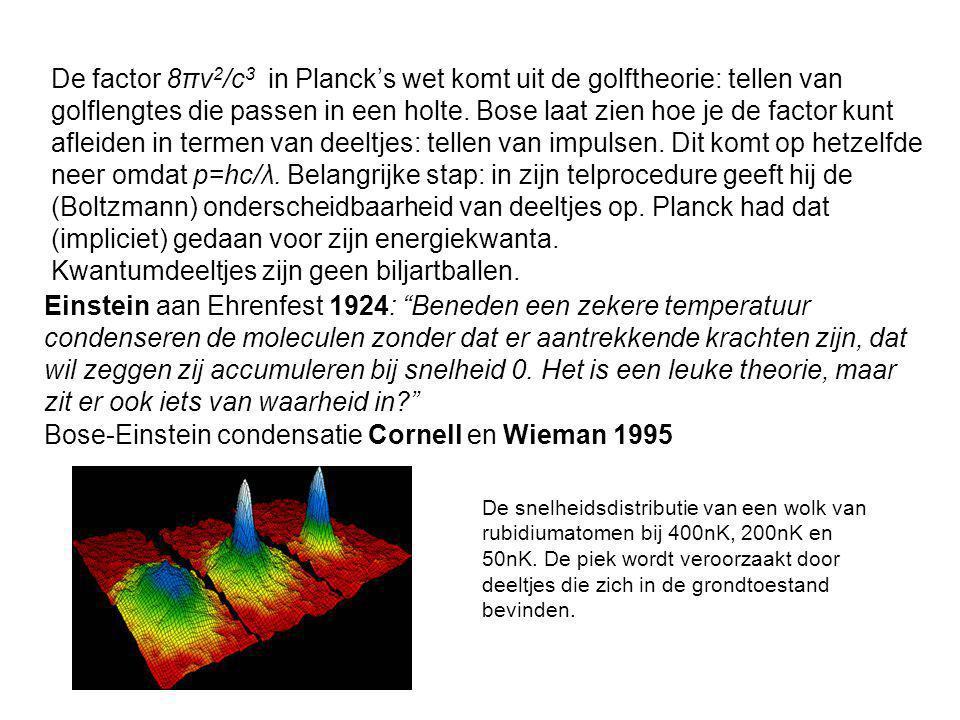 De factor 8πν 2 /c 3 in Planck's wet komt uit de golftheorie: tellen van golflengtes die passen in een holte. Bose laat zien hoe je de factor kunt afl