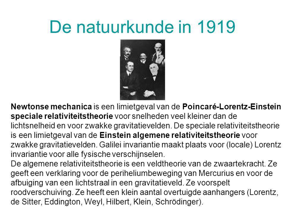 De natuurkunde in 1919 Newtonse mechanica is een limietgeval van de Poincaré-Lorentz-Einstein speciale relativiteitstheorie voor snelheden veel kleine