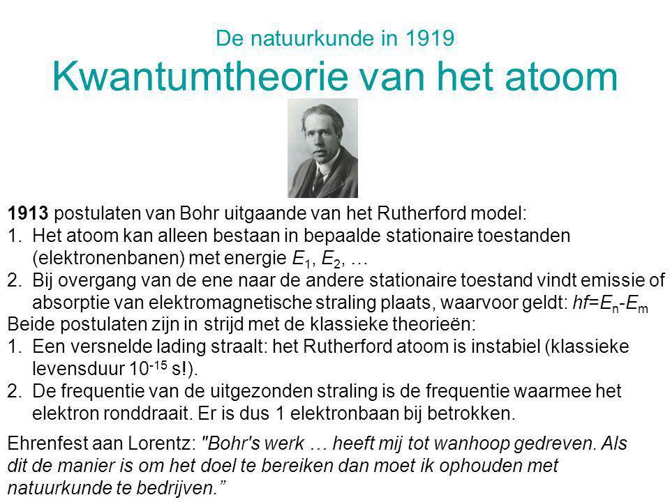 De natuurkunde in 1919 Kwantumtheorie van het atoom 1913 postulaten van Bohr uitgaande van het Rutherford model: 1.Het atoom kan alleen bestaan in bep