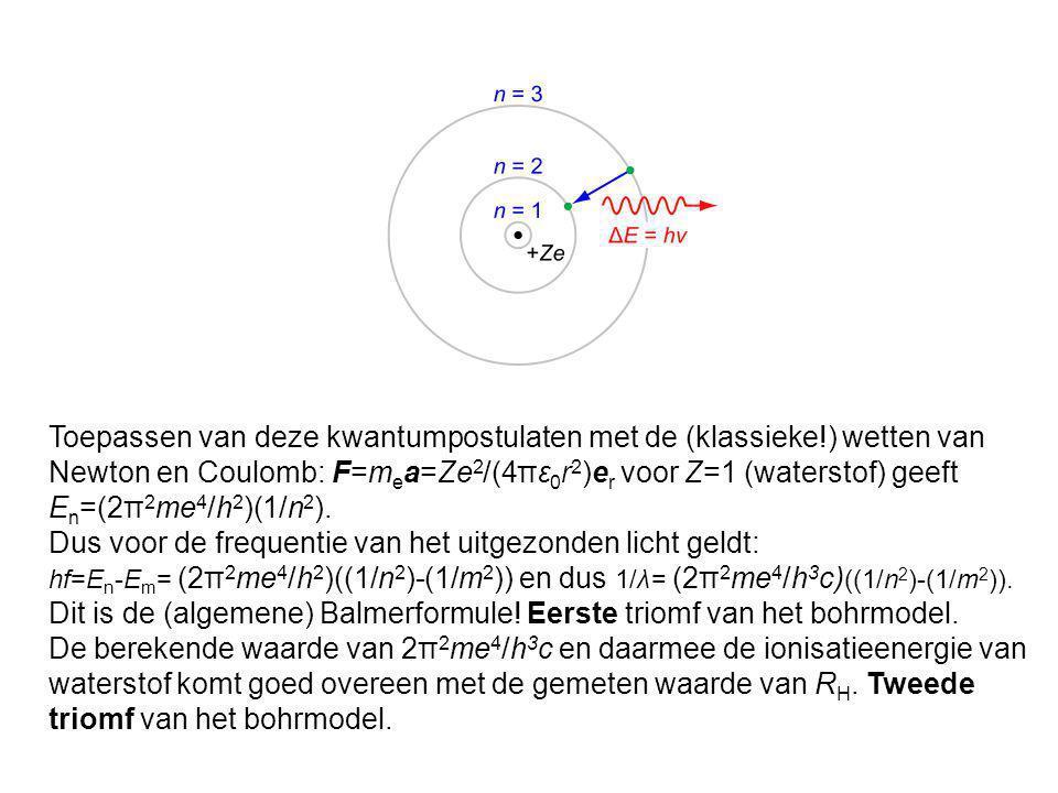 Toepassen van deze kwantumpostulaten met de (klassieke!) wetten van Newton en Coulomb: F=m e a=Ze 2 /(4πε 0 r 2 )e r voor Z=1 (waterstof) geeft E n =(