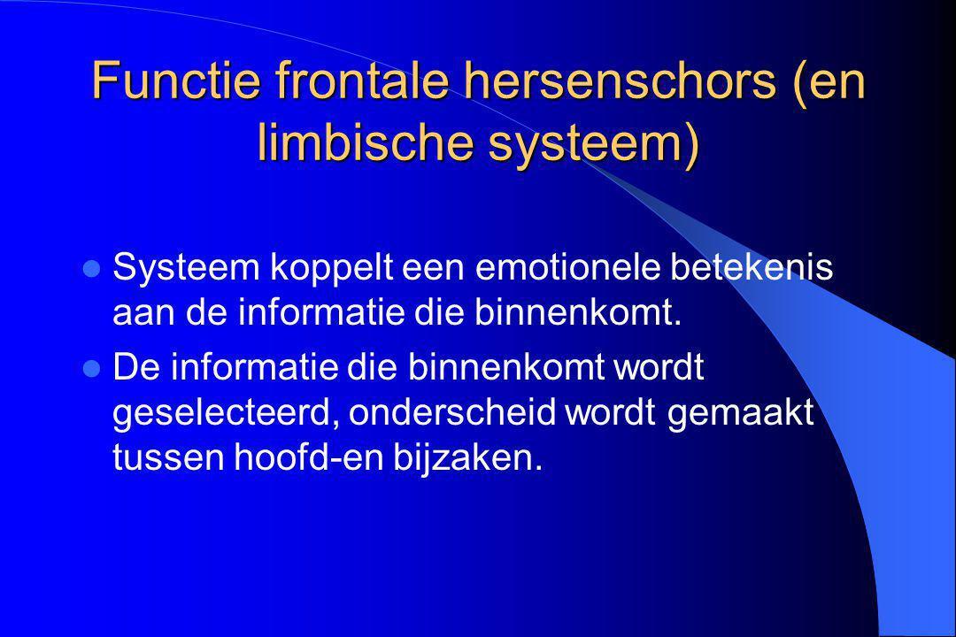 Functie frontale hersenschors (en limbische systeem) Systeem koppelt een emotionele betekenis aan de informatie die binnenkomt. De informatie die binn