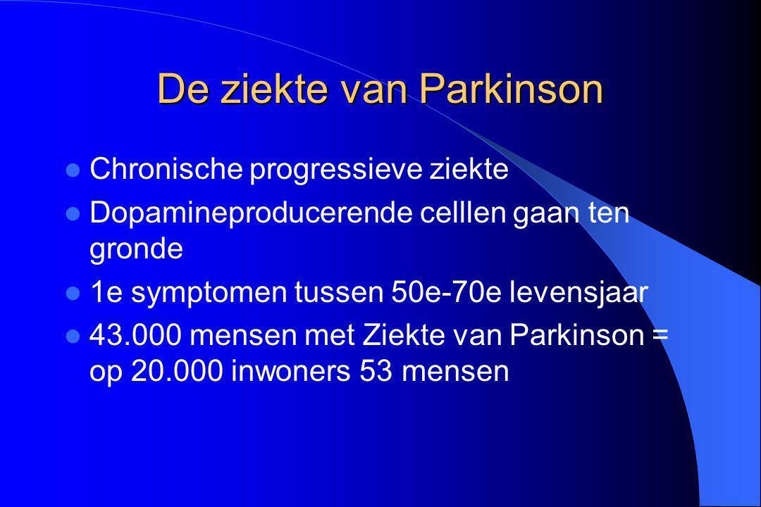 De ziekte van Parkinson Chronische progressieve ziekte Dopamineproducerende celllen gaan ten gronde 1e symptomen tussen 50e-70e levensjaar 43.000 mens