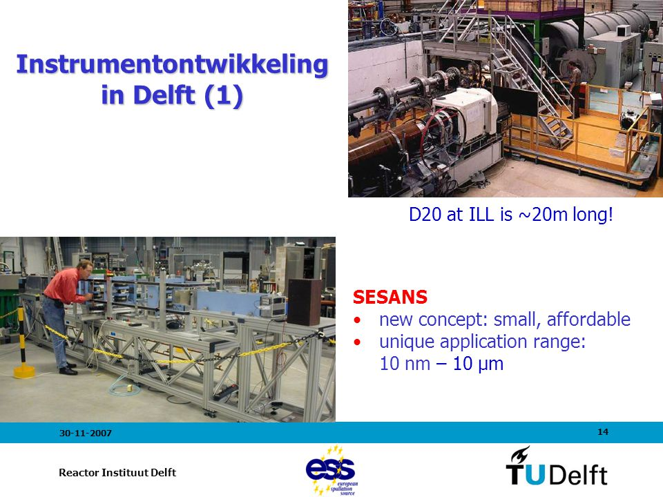 14 Reactor Instituut Delft 30-11-2007 D20 at ILL is ~20m long! Instrumentontwikkeling in Delft (1) SESANS new concept: small, affordable unique applic