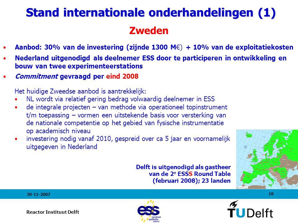 18 Reactor Instituut Delft 30-11-2007 Stand internationale onderhandelingen (1) Stand internationale onderhandelingen (1) Zweden Aanbod: 30% van de investering (zijnde 1300 M€) + 10% van de exploitatiekosten Nederland uitgenodigd als deelnemer ESS door te participeren in ontwikkeling en bouw van twee experimenteerstations Commitment gevraagd per eind 2008 Delft is uitgenodigd als gastheer van de 2 e ESSS Round Table (februari 2008); 23 landen Het huidige Zweedse aanbod is aantrekkelijk: NL wordt via relatief gering bedrag volwaardig deelnemer in ESS de integrale projecten – van methode via operationeel topinstrument t/m toepassing – vormen een uitstekende basis voor versterking van de nationale competentie op het gebied van fysische instrumentatie op academisch niveau investering nodig vanaf 2010, gespreid over ca 5 jaar en voornamelijk uitgegeven in Nederland