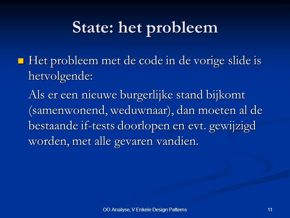 11OO Analyse, V Enkele Design Patterns State: het probleem Het probleem met de code in de vorige slide is hetvolgende: Het probleem met de code in de vorige slide is hetvolgende: Als er een nieuwe burgerlijke stand bijkomt (samenwonend, weduwnaar), dan moeten al de bestaande if-tests doorlopen en evt.