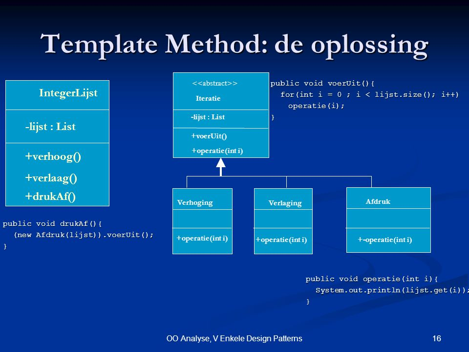 16OO Analyse, V Enkele Design Patterns Template Method: de oplossing public void voerUit(){ for(int i = 0 ; i < lijst.size(); i++) for(int i = 0 ; i < lijst.size(); i++)operatie(i);} > Iteratie Verlaging Verhoging +voerUit() +operatie(int i) Afdruk +-operatie(int i) public void operatie(int i){ System.out.println(lijst.get(i)); System.out.println(lijst.get(i));} IntegerLijst +verhoog() -lijst : List +verlaag() +drukAf() public void drukAf(){ (new Afdruk(lijst)).voerUit(); (new Afdruk(lijst)).voerUit();} -lijst : List