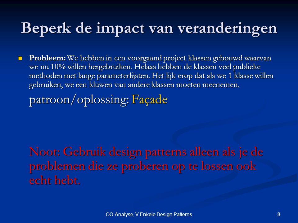 8OO Analyse, V Enkele Design Patterns Beperk de impact van veranderingen Probleem: We hebben in een voorgaand project klassen gebouwd waarvan we nu 10% willen hergebruiken.