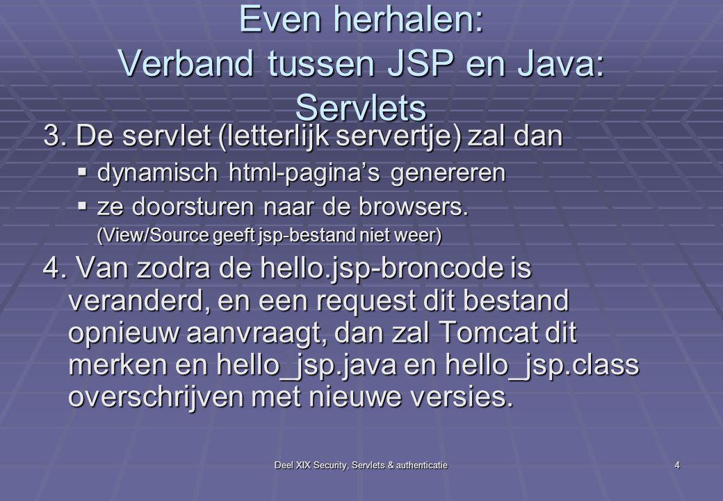 Deel XIX Security, Servlets & authenticatie4 Even herhalen: Verband tussen JSP en Java: Servlets 3. De servlet (letterlijk servertje) zal dan  dynami