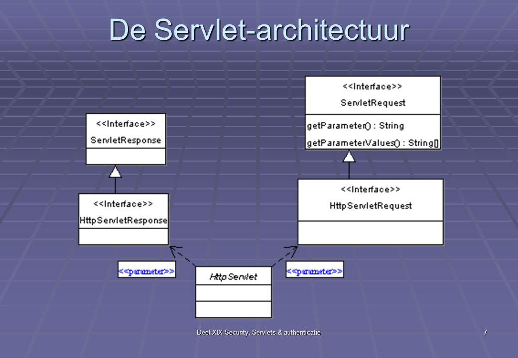 Deel XIX Security, Servlets & authenticatie7 De Servlet-architectuur