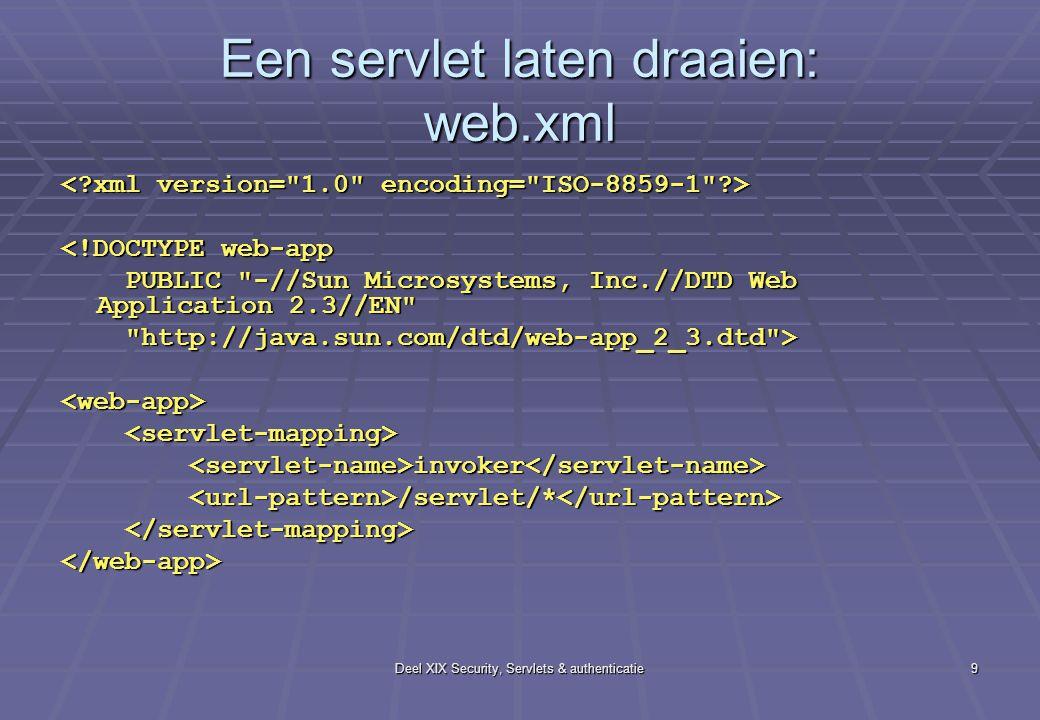 Deel XIX Security, Servlets & authenticatie9 Een servlet laten draaien: web.xml <!DOCTYPE web-app PUBLIC -//Sun Microsystems, Inc.//DTD Web Application 2.3//EN PUBLIC -//Sun Microsystems, Inc.//DTD Web Application 2.3//EN http://java.sun.com/dtd/web-app_2_3.dtd > http://java.sun.com/dtd/web-app_2_3.dtd ><web-app> invoker invoker /servlet/* /servlet/* </web-app>