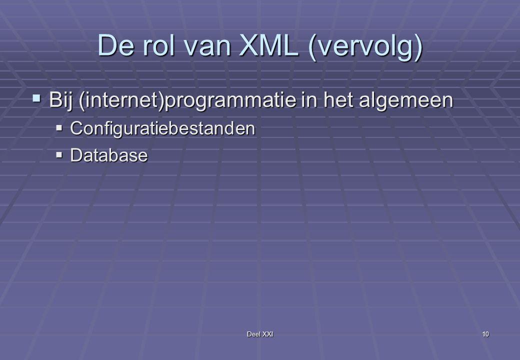 Deel XXI10 De rol van XML (vervolg)  Bij (internet)programmatie in het algemeen  Configuratiebestanden  Database
