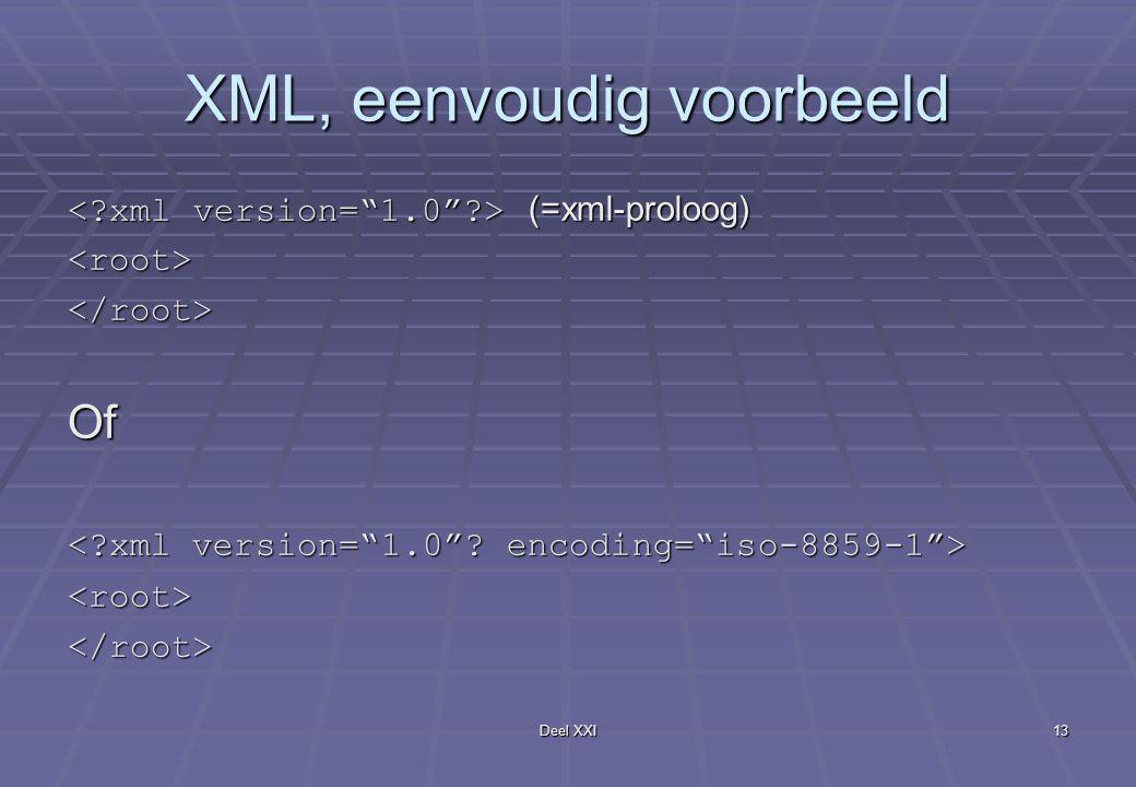 Deel XXI13 XML, eenvoudig voorbeeld (=xml-proloog) (=xml-proloog)<root></root>Of <root></root>