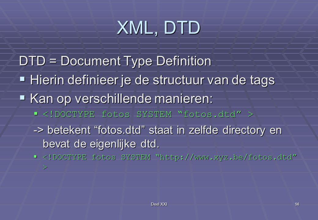 Deel XXI14 XML, DTD DTD = Document Type Definition  Hierin definieer je de structuur van de tags  Kan op verschillende manieren:   -> betekent fotos.dtd staat in zelfde directory en bevat de eigenlijke dtd.