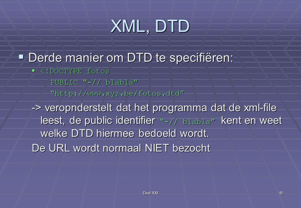 Deel XXI15 XML, DTD  Derde manier om DTD te specifiëren:  <!DOCTYPE fotos PUBLIC -// blabla PUBLIC -// blabla http://www.xyz.be/fotos.dtd http://www.xyz.be/fotos.dtd -> veropnderstelt dat het programma dat de xml-file leest, de public identifier -// blabla kent en weet welke DTD hiermee bedoeld wordt.