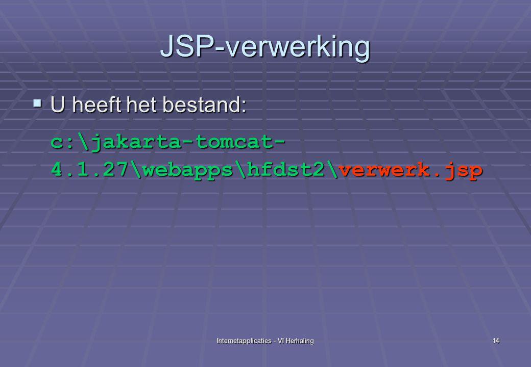 Internetapplicaties - VI Herhaling14 JSP-verwerking  U heeft het bestand: c:\jakarta-tomcat- 4.1.27\webapps\hfdst2\verwerk.jsp