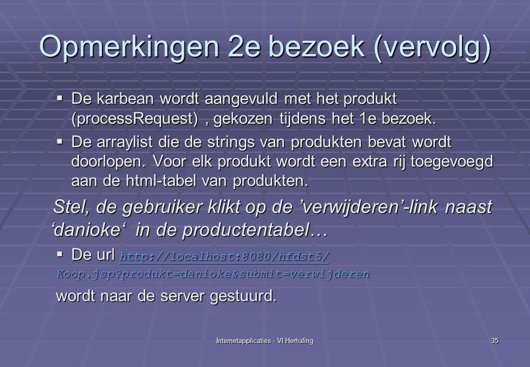 Internetapplicaties - VI Herhaling35 Opmerkingen 2e bezoek (vervolg)  De karbean wordt aangevuld met het produkt (processRequest), gekozen tijdens het 1e bezoek.