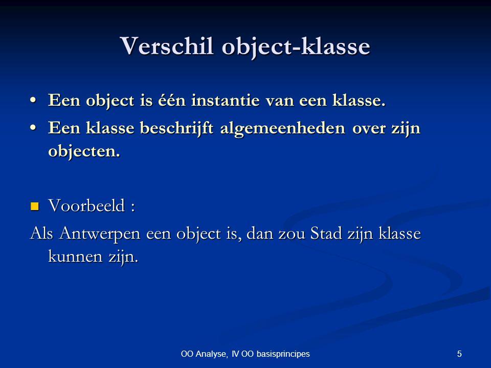 16OO Analyse, IV OO basisprincipes Command-Query // TWIJFELACHTIG: public class mijnRij{ private Object[20] rij; private Object[20] rij; private int tel = -1; private int tel = -1; public Object getNext(){ public Object getNext(){ tel++; tel++; if ( tel < rij.length ) if ( tel < rij.length ) return rij[tel]; return rij[tel]; else{ else{ tel--; tel--; return null; return null; } } public boolean hasNext(){ public boolean hasNext(){ return tel < rij.length-1; return tel < rij.length-1; } public void reset(){ tel=-1;} public void reset(){ tel=-1;}} // BETER: public class mijnRij{ private Object[20] rij; private Object[20] rij; private int tel = 0; private int tel = 0; public Object getElement(){ public Object getElement(){ if (tel < rij.length) if (tel < rij.length) return rij[tel]; return rij[tel]; } public void next(){ public void next(){ if (tel < rij.length) if (tel < rij.length) tel++; tel++; } public boolean eof(){ public boolean eof(){ return tel == rij.length; return tel == rij.length; } public void reset(){ tel=0;} public void reset(){ tel=0;}}